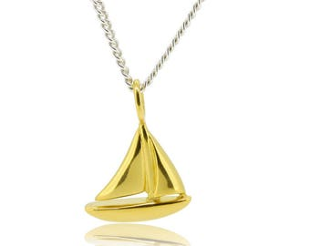 golden sailboat pendant with silver chain, gifts for women, maritime jewelry