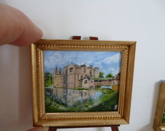 Hever Castle , Kent ,childhood home of Anne Boleyn . An Original one 12th Miniature Acrylic Painting