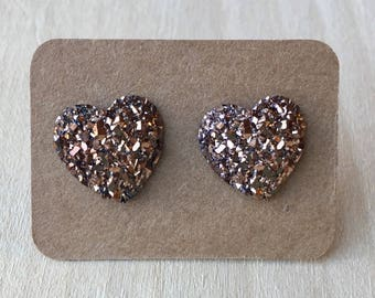 Rose Gold Heart Earring Studs//Rose Gold Druzy Earrings//Earring Studs//Faux Druzy//12 mm//Rose Gold//Duzy Earrings//Heart Earrings
