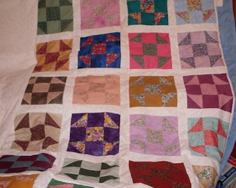 Shoo Fly Quilt Top, Border and Backing White on White Patchwork 93 x 105