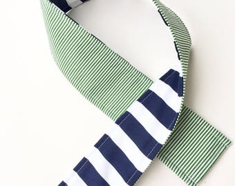 Padded Camera Strap Cover,Neck Strap- REVERSIBLE- Padded- DSLR- Preppy Navy Blue Green Stripes Photographer Thank You Gift, Photography