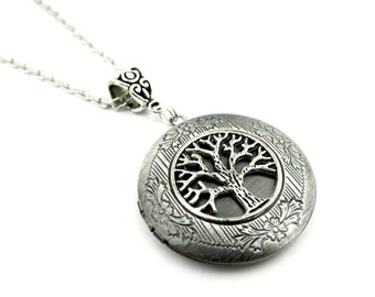 Woodland Picture locket - Silver Tree of Life Locket Necklace - Silver Locket Pendant - Picture Locket - Gift Idea for her