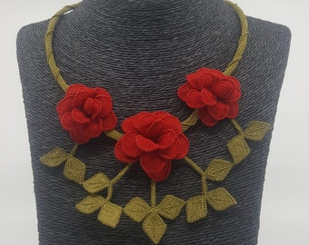 Turkish Oya Rose Branch Necklace Red