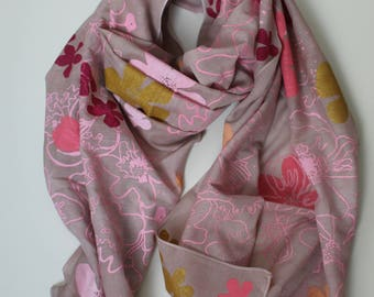 Shawl Scarf Jungle Taupe Pink