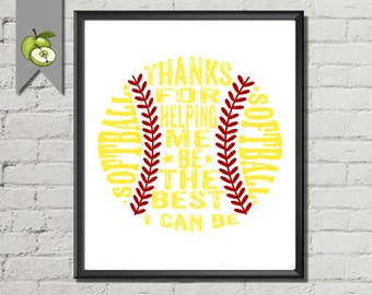 Softball art printable, Coach Appreciation gift, Coach thank you card, team, typography, softball team,  sport,Printable, wall art print