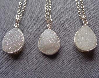 White Druzy Necklace / Teardrop White Druzy / Natural Silver White Druse / Simple Minimal Necklace / Simple White Stone Pendant //GD8