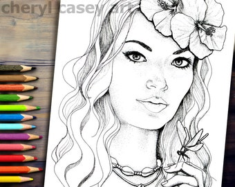 Printable Coloring Page - Hawaiian Girl - Cheryl Casey Art - Digistamp, Digital Stamp