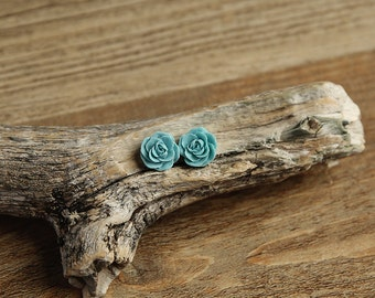 Dark Turquoise (08) 13mm Dainty Resin Rose Cabochons CF1027