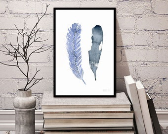 Feather artwork from original watercolor painting by Annemette Klit. Bird feather art print hand painted. Boho art. Blue feather giclee art.