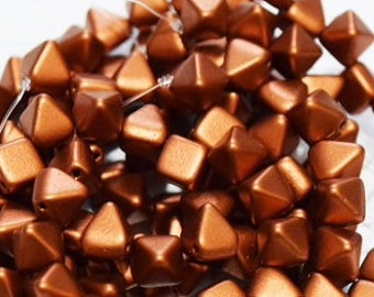 6mm Silky Copper Czech glass Pyramid beads