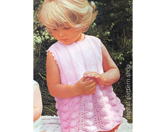 Girls Dress Knitting Pattern Toddler Sleeveless Dress Shell Skirt Pattern PDF Instant Download K97