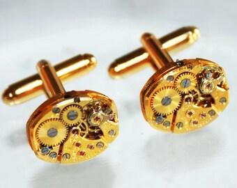 BULOVA Men Steampunk Cufflinks: RARE 17 Jewels Gold Vintage Watch Movement - Matching Men Steampunk Cufflinks Cuff Links Men Wedding Gift