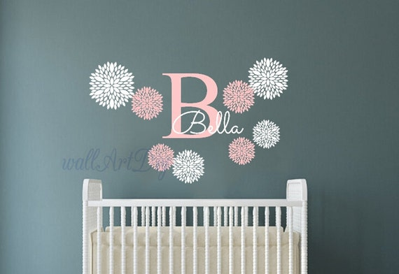 Monogram Wall Decals Nursery Name Wall Sticker Baby Girl Room - Monogram wall decals for nursery