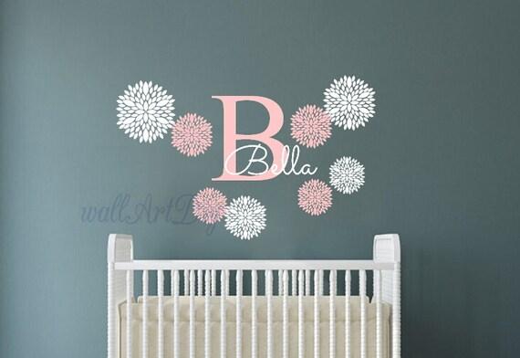 Monogram Wall Decals Nursery Name Wall Sticker Baby Girl Room - Monogram wall decal for nursery