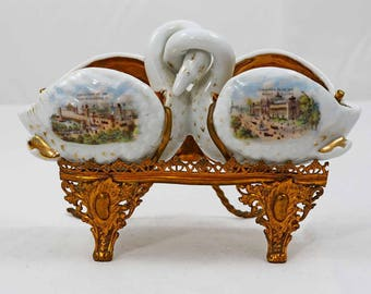Russian-French Antique Porcelain Salt Dish