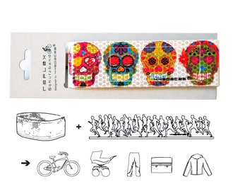 Sugar Skull Reflex Bike Accessory, Día de los Muertos, Gimmick Gift, Bike Leg Strap, Safety Trouser Band, Back to School, Birthday Gift Bike