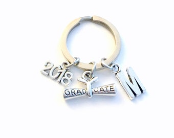 2018 Graduation Gift, 2019 Graduate Scroll Keychain, Gift for High School Grad Key Chain, Men Women Keyring initial letter, Junior Her Him
