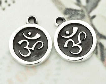 2 of 925 Sterling Silver Ohm Printed Charms 10mm. :th2218