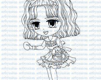 Digital Stamp-Alice, Digi Stamp, Coloring page, Printable Line art for Card and Craft Supply, Art by Mi Ran Jung