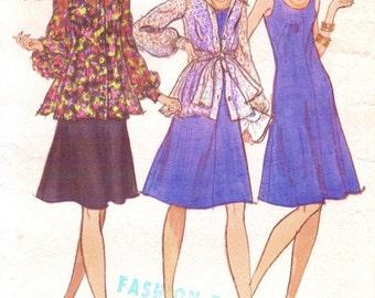 70s Womens Scooped Neckline Boho Dress, Jacket & Scarf Vogue Sewing Pattern 8923 Size 12 Bust 34 UnCut Vintage Vogue Patterns