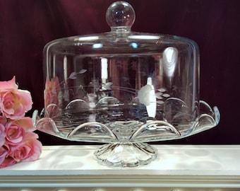 Princess House Crystal Heritage Cake Covered Cake Stand ... & Princess cake stand | Etsy
