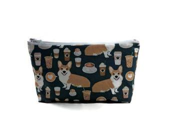 Corgis Love Coffee, Makeup Bag, Corgi Bag, Makeup Pouch, Zipper Pouch, Zipper Bag, Dog Cosmetic Bag, Dog Zipper Bag, Dog Pouch