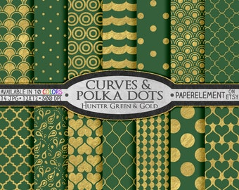Hunter Green and Gold Polka Dot Wedding Paper - Foil Metallic Gold Geometric Shapes on Green Backdrops: Gold and Green Wedding Background