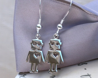 Robot Love earrings Sterling Silver