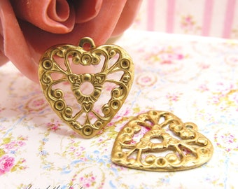 Ornate Vintage Style Brass Lacey Filigree Heart Charm, Valentine Pendant 18x17mm Brass Stamping Findings - 4