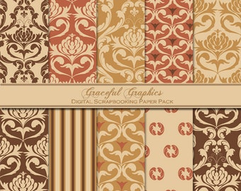Scrapbook Paper Pack Digital Scrapbooking Background Papers DAMASK 10 8.5 x 11 Rust Caramel Cream Brown 1477gg