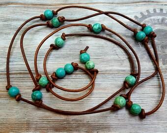 Turquoise leather necklace, beaded lariat necklace, leather lariat, long necklace, wrap bracelet leather, turquoise bead choker, cruise wear