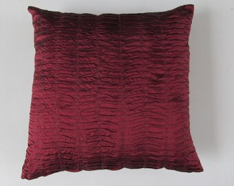 deep maroon euro sham  pleated pillow 26inch. silk  floor pillow.  custom made  cushion cover only
