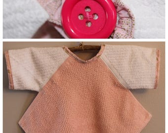 BL008  - FREE SHIPPING - Baby Bib with Sleeves, Toddler Bib with Sleeves, Button Clasp, Girl, Birthday, Pink, Gold