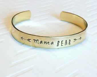 Mama Bear Bracelet - Gift For Mom - New Mom Gift - Mothers Day Gift - Hand Stamped Bracelet - Brass Gold Stacking Bracelet