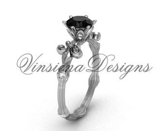 14kt white gold diamond leaf and vine, Fleur de Lis, Black Diamond engagement ring VD20838