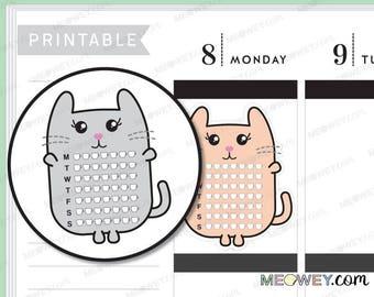 Caffeine Tea Coffee Monitor Meowey The Cat Stickers Kawaii Planner Printables INSTANT DOWNLOAD Decorative Drink Intake Chart Tracker DIY Log