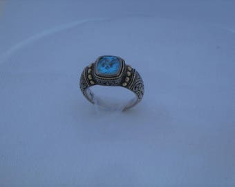 Blue Topaz Cushion Cut Stone  set in heavy .925 Sterling Silver & 18K Gold accents. Vintage Style