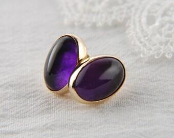 14K Gold Earrings Amethyst Earrings Solid Gold Earrings Gold Statement Earrings Luxury Jewelry Amethyst Jewelry