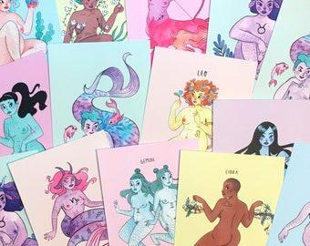Zodiac Babes -  12 Postcard Pack