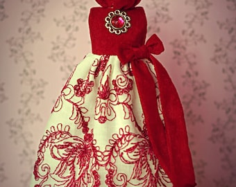 Vintage Inspired Red Suede and lace dress for Blythe Doll -  fits Pure Neemo S, Licca, Takara