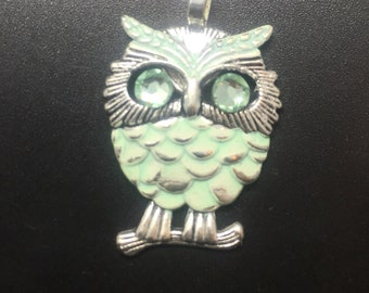Owl Pendant with Swarovski Crystal Eyes - Mint Color Feathers