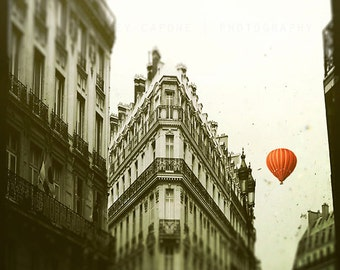 Paris Photography, Landscape, Red Balloon in Paris, print, black and white, French wall art, home decor, nursery, Paris art print