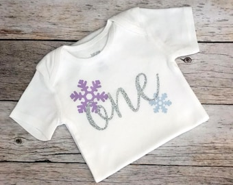 Lavender and Light Blue Snowflake Winter Wonderland Birthday Shirt (Customizable Colors), Winter Onederland First Birthday Shirt