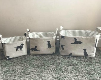 Black labrador Set of storage fabric baskets large , medium and small