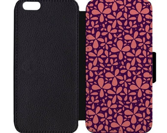 Floral Petal Print April Showers Bring May Flowers Pattern Leather Flip Wallet Case Apple iPhone 5 5S SE 6 6S 7 7S 8 8S X Plus