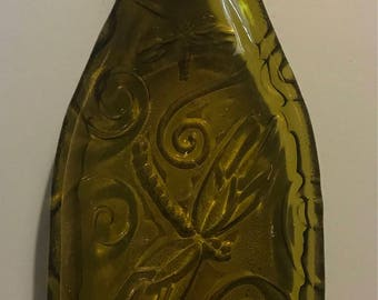 Melted Wine Bottle Tray or Spoon Rest - Various Designs