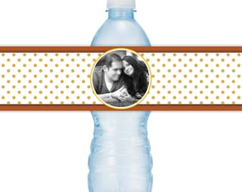 Wedding Photo Water Bottle Labels - CUSTOM Printable Polka Dot Water Bottle Labels, YOU print, you cut, DIY water bottle labels