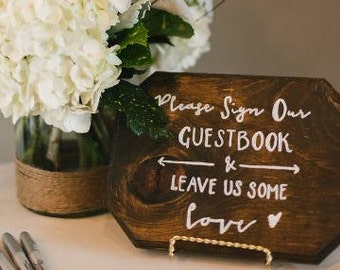 Wood Guest book Sign | Sign Our Guest book | Calligraphy Guest Book Sign | Welcome Sign