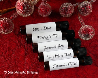 A Toast to the Holidays - Christmas Perfume - Perfume Sample Set of Five Vials - Holiday Perfume - Winter Fragrance