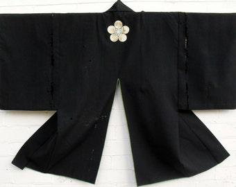 Samurai wool and silk Kaji Haori  (Fire dress) Edo period (1603-1868) with family crest (mon). collectors item.